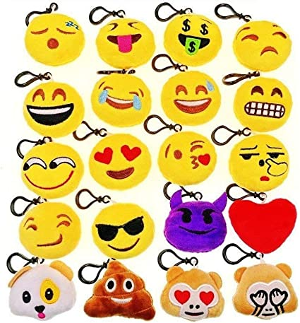 Jzk 20 X Mini Emoji Schlüsselanhänger Plüsch 5cm Smileys Tasche Rucksack Ranzen Anhänger Spielzeug Geschenk Mitgebsel Gastgeschenk Für Geburtstag