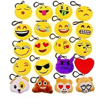 JZK® 20 piezas mini juguete de peluche, emoji llavero emoticonos llavero emoción para niños