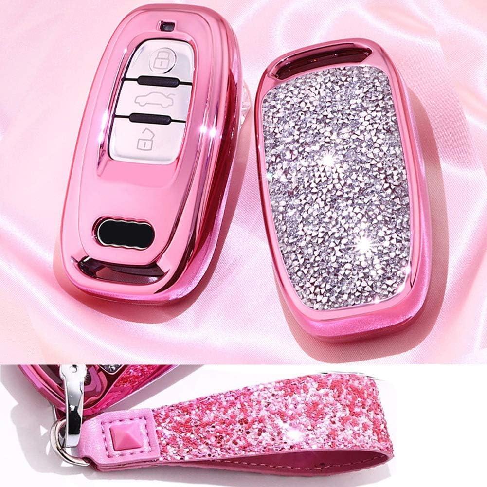 Royalfox Tm 3 Tasten 3d Bling Smart Keyless Remote Key Fob Case Cover Für Audi Old Key A3 A4 A5 A6 A7 Mit Schlüsselanhänger Nicht Passend Für Panic Key Pink Elektronik