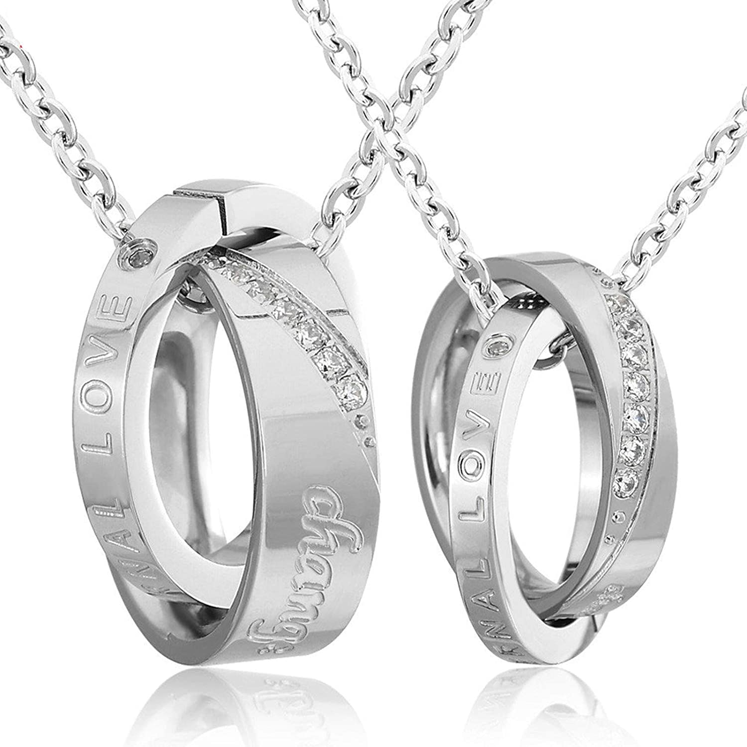 Gnzoe Jewelry Mens Stainless Steel Necklace Gothic Couple Silver Necklace Pendant