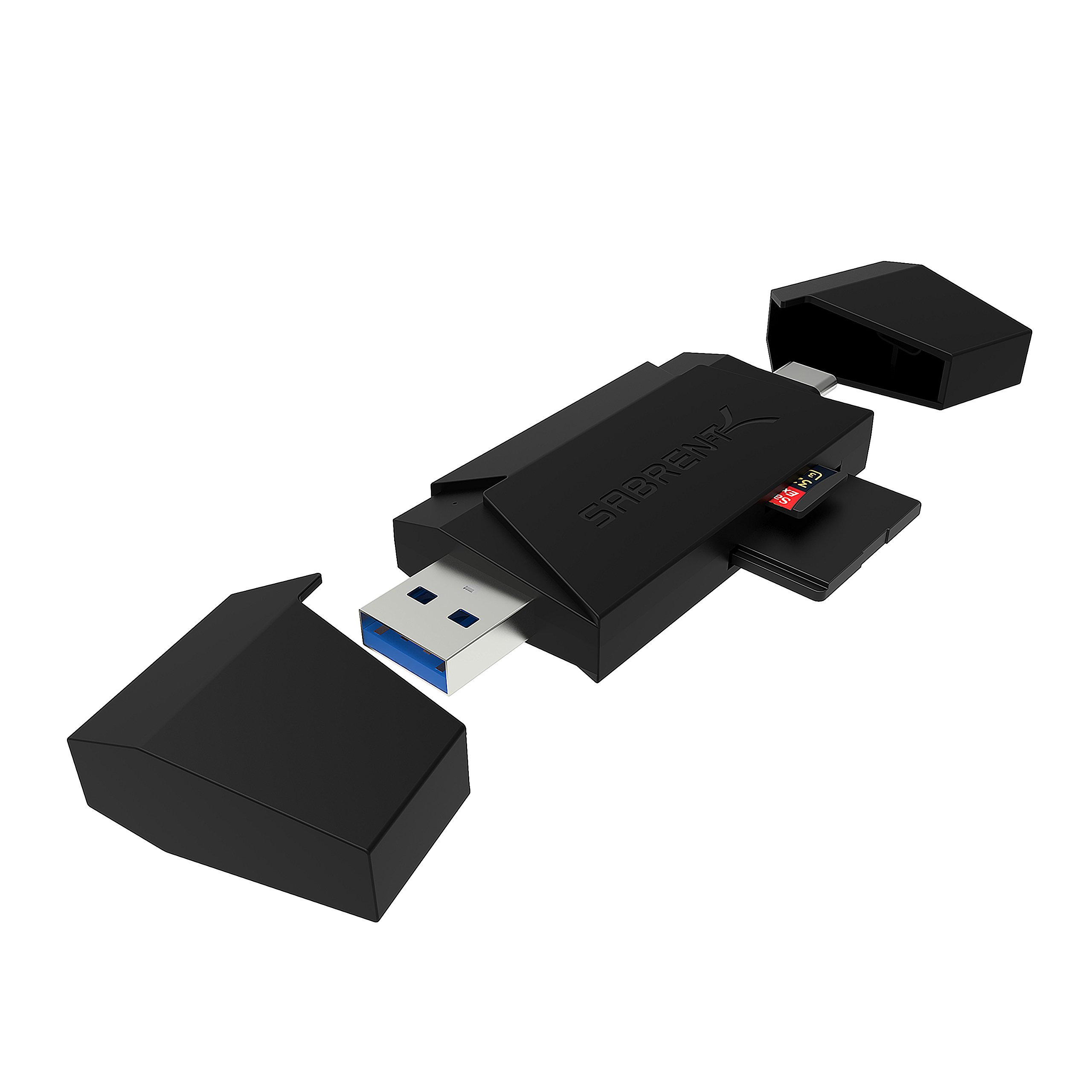 Sabrent 2-Slot Type-C OTG and USB 3.0 Flash Memory Card Reader for Windows, Mac, Linux, and Certain Android Systems - Supports SD , SDHC , SDXC , MMC / MicroSD , T-Flash [Black] (CR-UM4C)