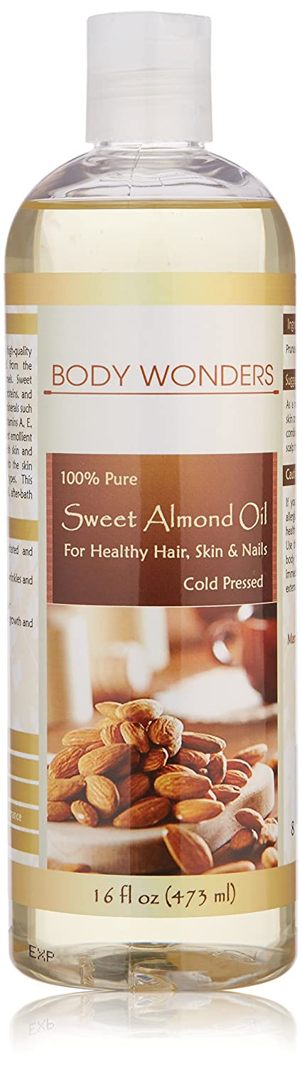 Body Wonders 100% Pure & Cold-pressed Sweet Almond Oil For Healthy Hair, Skin & Nails 16 Fl Oz 473 Ml