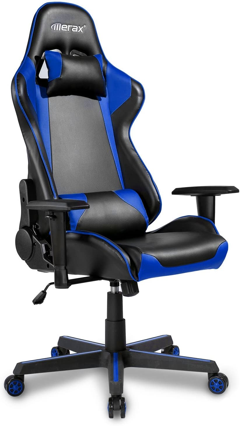 Merax Office Chair Executive Racing Gaming Chair Swivel PU Leather Chair with Wide Armrests (black and blue)