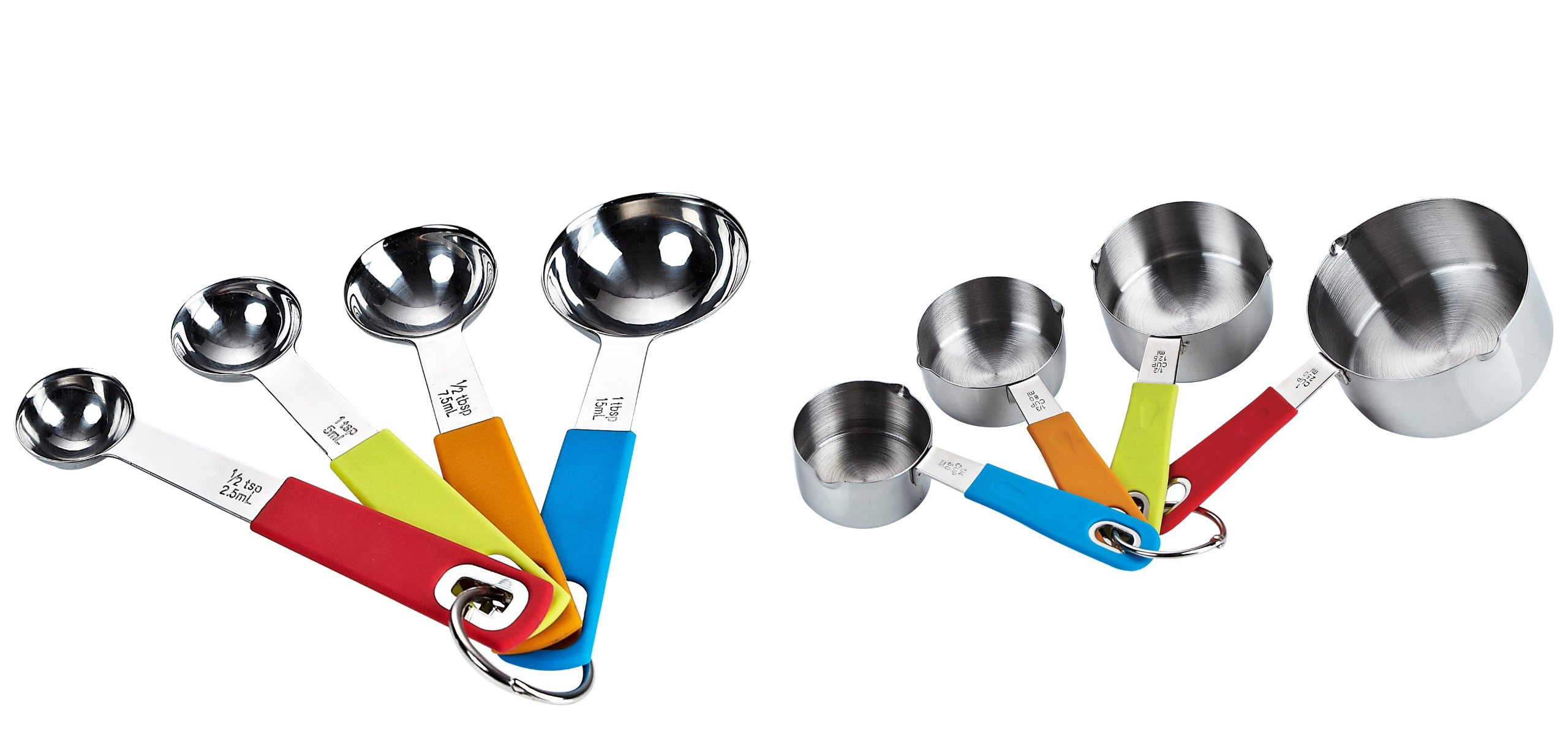 Cook N Home 8-Piece Stainless Steel Measuring Cups and Spoons Set, Multicolor