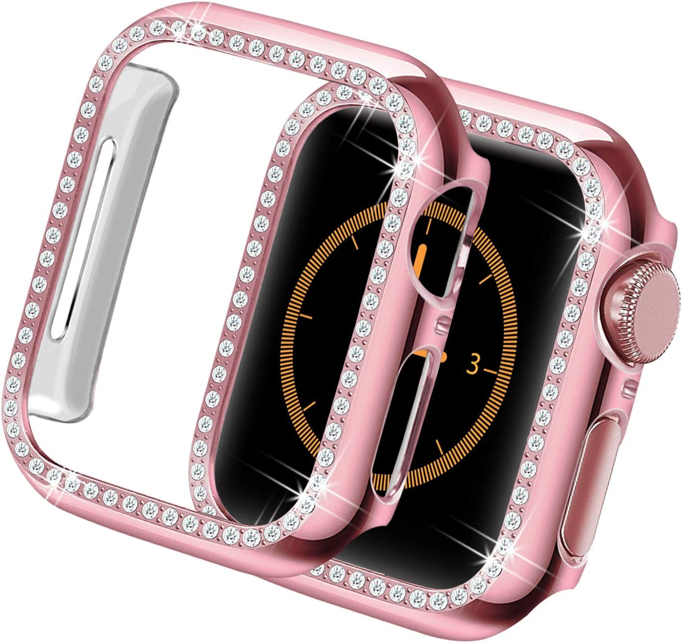 Yolovie Compatible for Apple Watch Case 40mm SE Series 6 5 4 iWatch Bling Face Cover Crystal Diamonds Shiny Rhinestone Bumper, PC Protective Frame for Women Girl (Pink-Diamond, 40mm)
