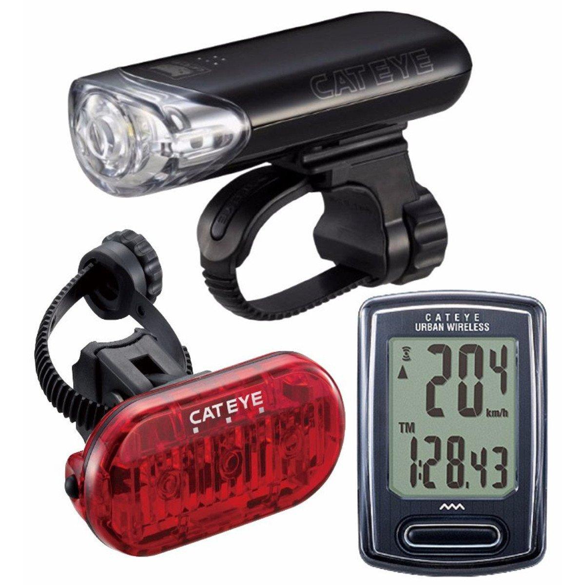 CAT EYE - Go Kit Wireless with HL-EL140 Headlight, Urban Wireless Cycle Computer, and Omni 3 Rear Bike Light