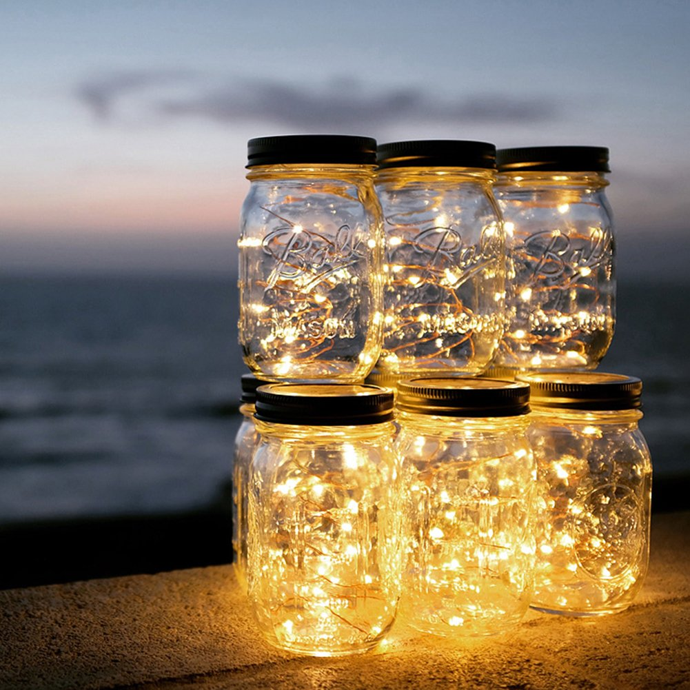 Solar Mason Jar Lights, Adecorty Outdoor Hanging Lights 2 Pack 20 LED String Fairy Star Firefly Jar Lights (Jars & Hangers Included) Warm White Waterproof Solar Lanterns for Garden Patio Outdoor Decor by Adecorty (Image #7)