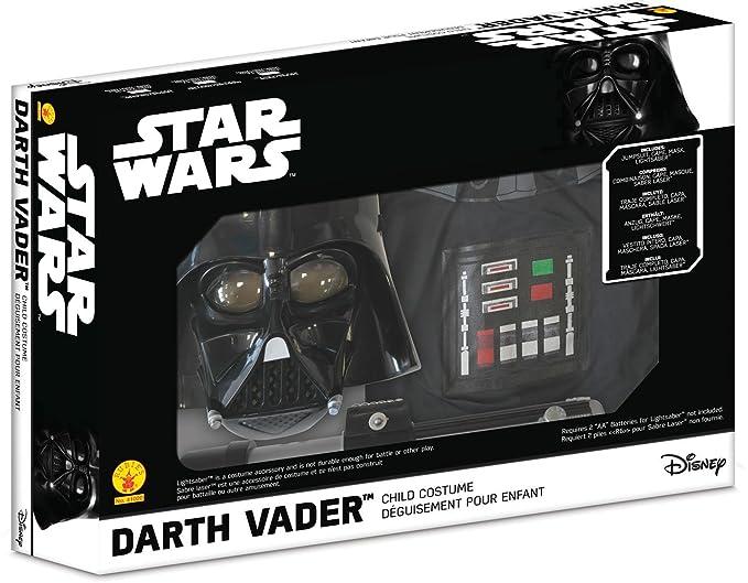 Star Wars - Disfraz de Darth Vader para niño, caja con disfraz, máscara y espada, 5-7 años (Rubie`s 41020-M)