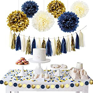NICROLANDEE Navy Blue Gold Party Decoration Kit Nautical Baby Shower Hanging Pom Poms Paper Garland Party Confetti for Get Ready Bridal Shower Wedding Birthday Bachelorette (Navy Gold)