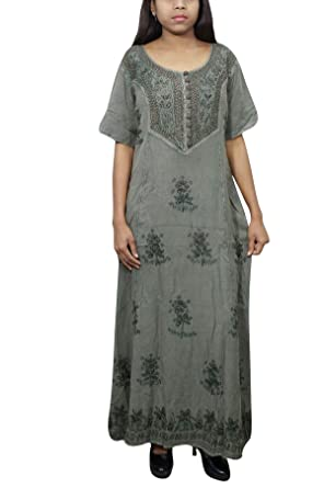 d500897b222a4 Indiatrendzs Women's Maxi Dress Green Embroidered Half Sleeves Rayon ...