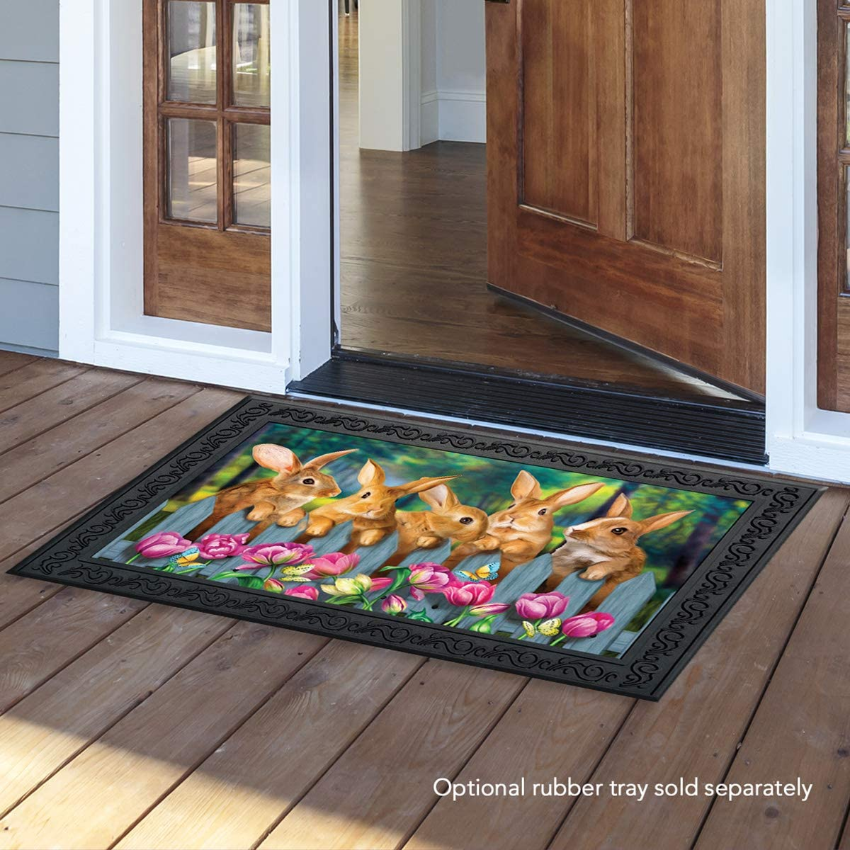 Briarwood Lane Garden Bunnies Spring Doormat Tulips Easter Rabbits Indoor Outdoor 18 x 30