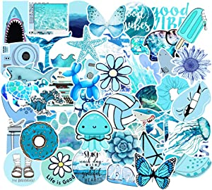 Stickers for Water Bottles, 53 Pcs Hydro Flask Sticker Pack, Trendy VSCO Vinyl Aesthetic Stickers for Laptop Hydroflasks Skateboard, Waterproof Cool Cute Sticker for Teens Girls Adult, Blue
