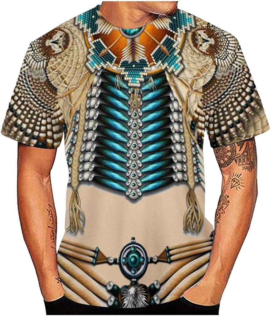 POQOQ T-Shirt Mens 3D Vintage Ethnic Style Print O-Neck Short Sleeve Blouse Top