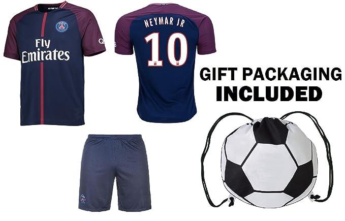 28cc895799b Amazon.com   Fan Kitbag Neymar Jr  10 PSG Soccer Jersey   Shorts Paris  Saint Germain Youth Kids Home Away ✓ Premium Gift Set ✓ INCLUDED Soccer  Ball ...