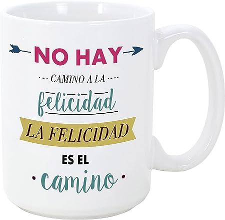 MUGFFINS Tazas Desayuno Originales con Frases motivadoras - No Hay Camino a la Felicidad, la Felicidad es el Camino - 350 ml - Tazas con Mensajes motivacionales: Amazon.es: Hogar