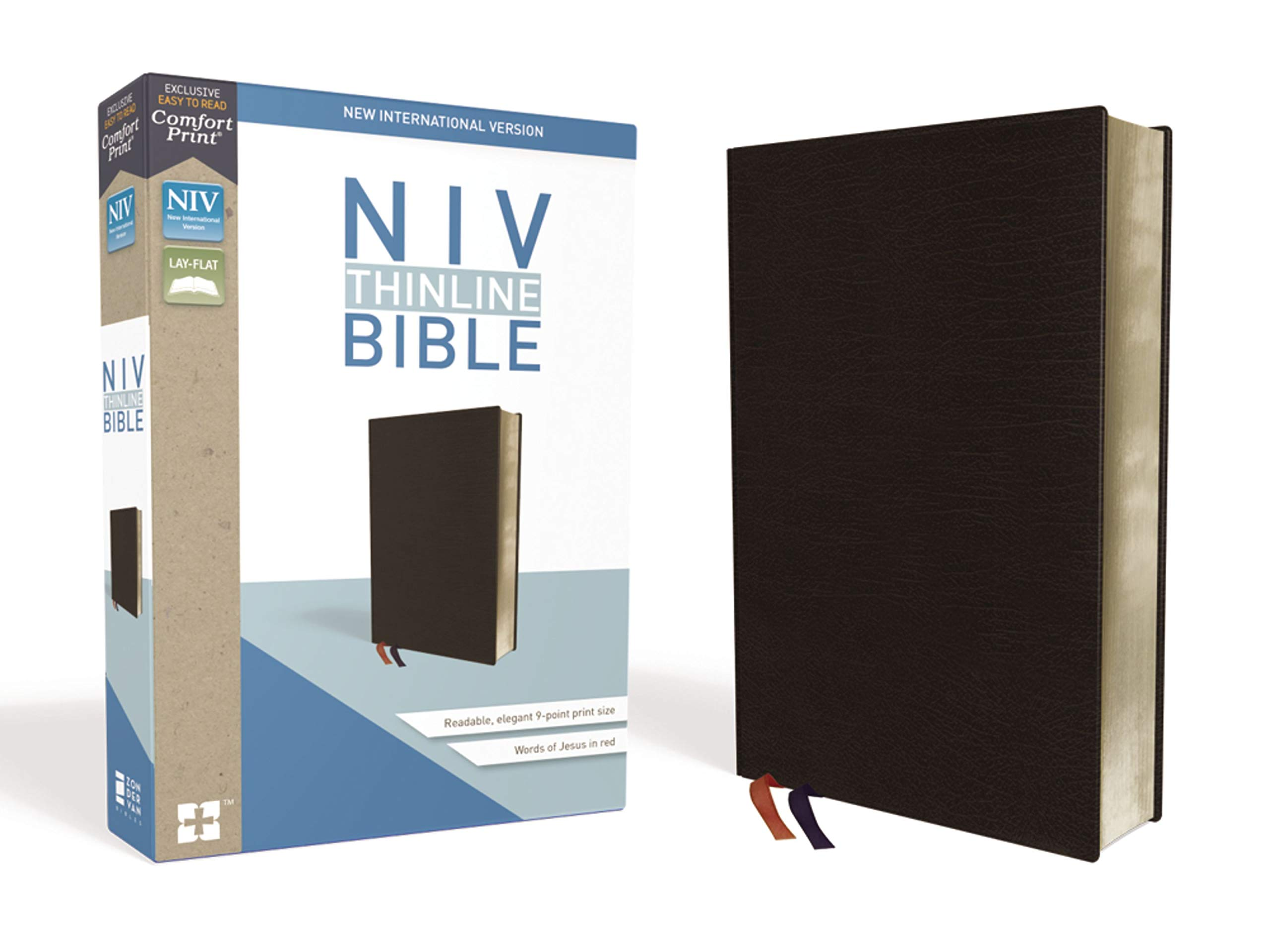NIV, Thinline Bible, Bonded Leather, Black, Red Letter, Comfort Print