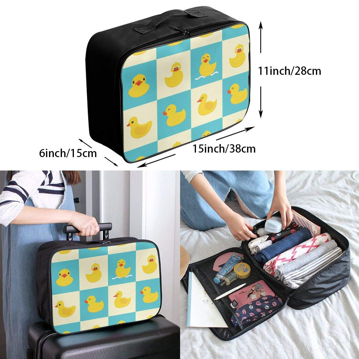 JTRVW Luggage Bags for Travel Travel Lightweight Waterproof Foldable Storage Carry Luggage Duffle Tote Bag Funny Rubber Duck
