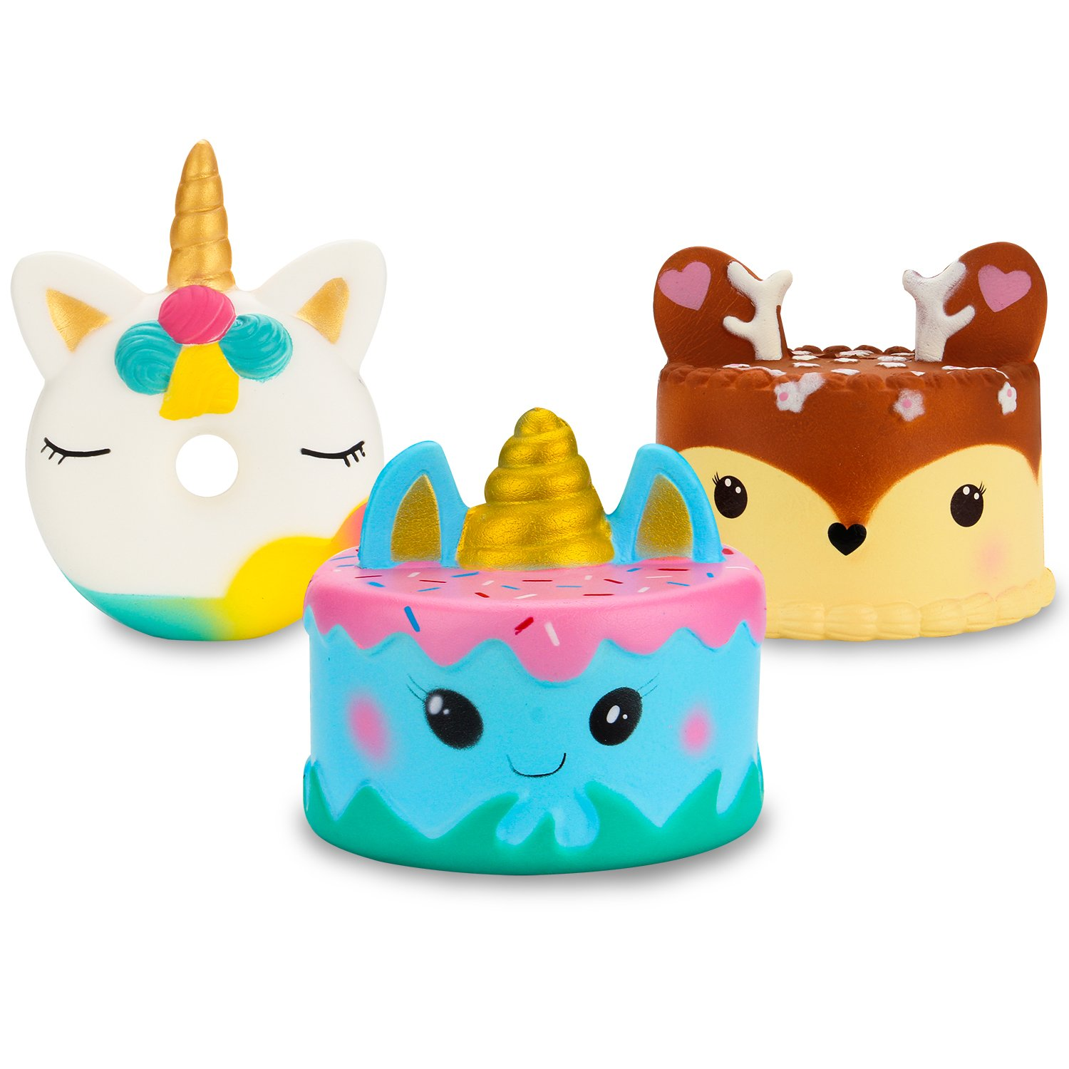 WATINC 3 PCs Animal Squishy Sweet Scented Cute Unicorn Donut Cake Deer Cake Slow Rising Squishy Kid Toy, Lovely Toy,Stress Relief Toy,Decorations Toy Gift Cake Set 3pcs