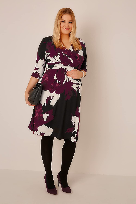 Plus Size Womens Bump It Up Maternity & Multi Floral Print Wrap Dress