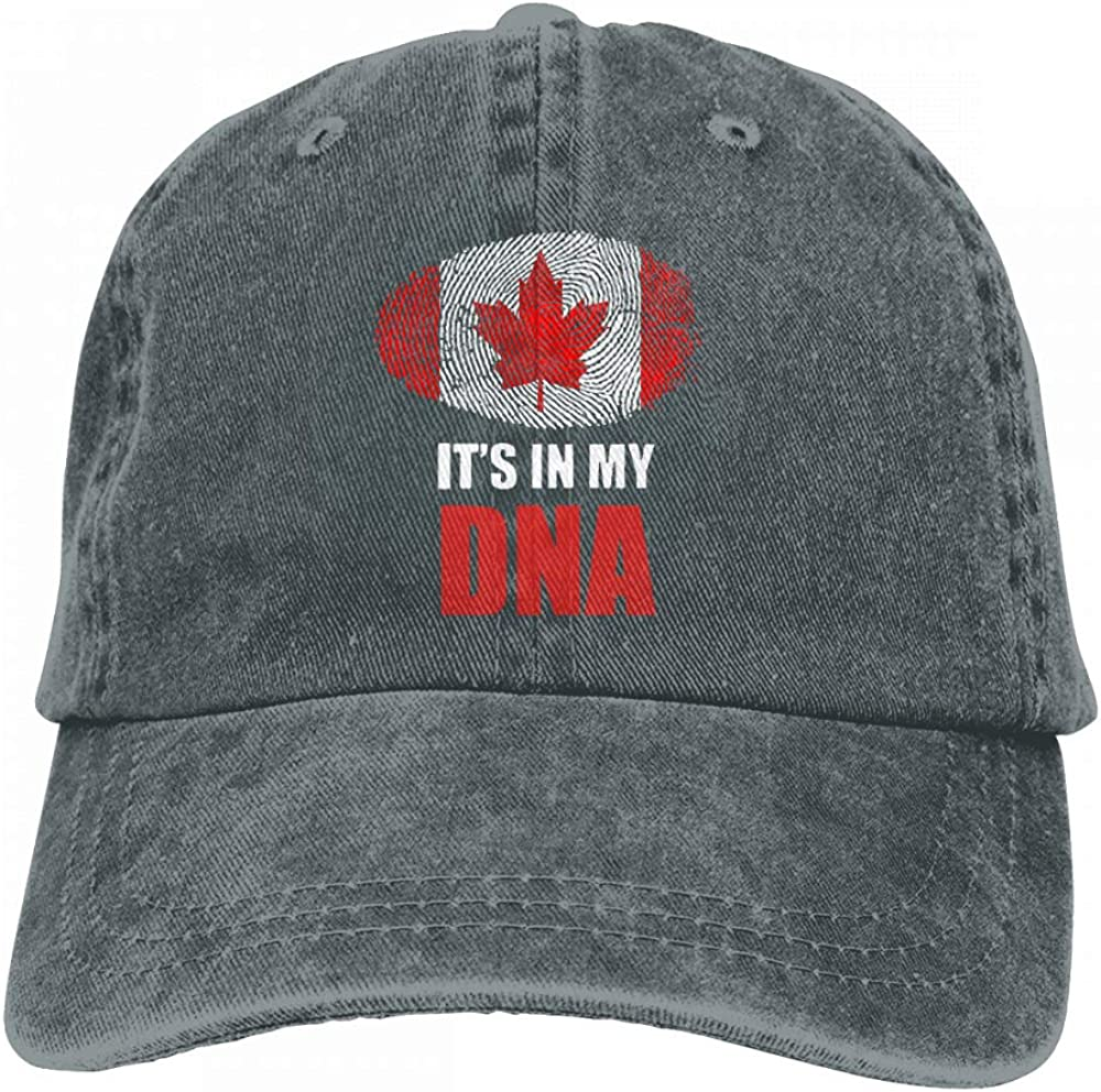 Canada Its in My DNA Canada Flag Mens Womens Adjustable Denim Fabric Baseball Cap Hip-hop Cap