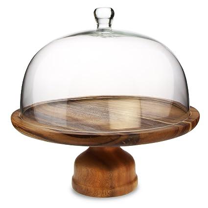 Genware Acacia Wood Cake Stand And Glass Cake Dome Rustic Cake
