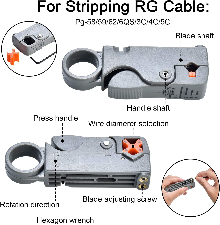 moinkerin Crimpadora de Cable Coaxial Pelacable Coaxial Juego de Crimpadora Coaxial para Cable Coaxial RG58 RG59 RG6 RG-62 TV por Cable