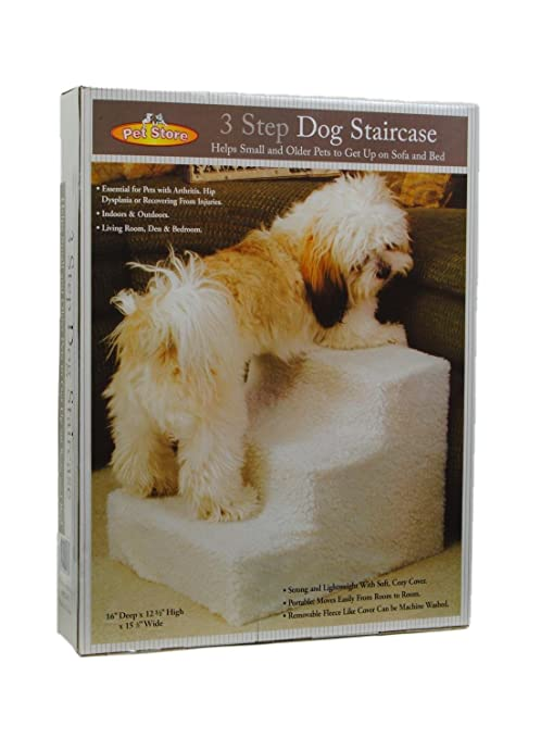 JSNY Pet Stairs 3 Steps Stairs Small Dog Cat Steps Pet Ramp Ladder Portable  Travel Up