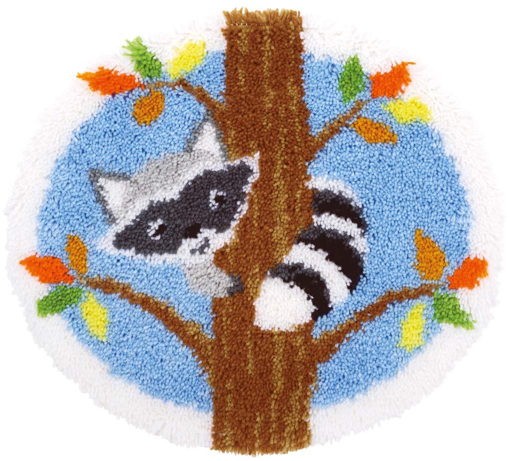 54 x 50 x 1 cm Baumwolle Mehrfarbig Vervaco Formteppich Waschb/är im Baum Kn/üpfteppich mit Kn/üpfhaken