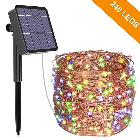 Guirlande Lumineuse Solaire, Kolpop 26M 240 LED Exterieur Étanche Lampe  Solaire pour Jardin, Terrasse, Cour, Maison, Arbre de Noël, Fête Party ...