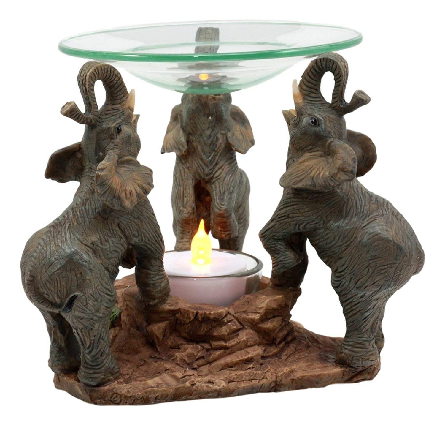 Ebros Trio African Savanna Elephants Trumpeting Oil Warmer Statue Wax Tart Burner Aroma Scent Diffuser Resin Safari Themed Decorative Figurine
