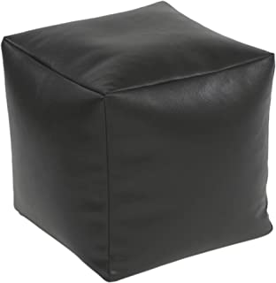 Beautiful Beanbags Black Faux Leather Cube