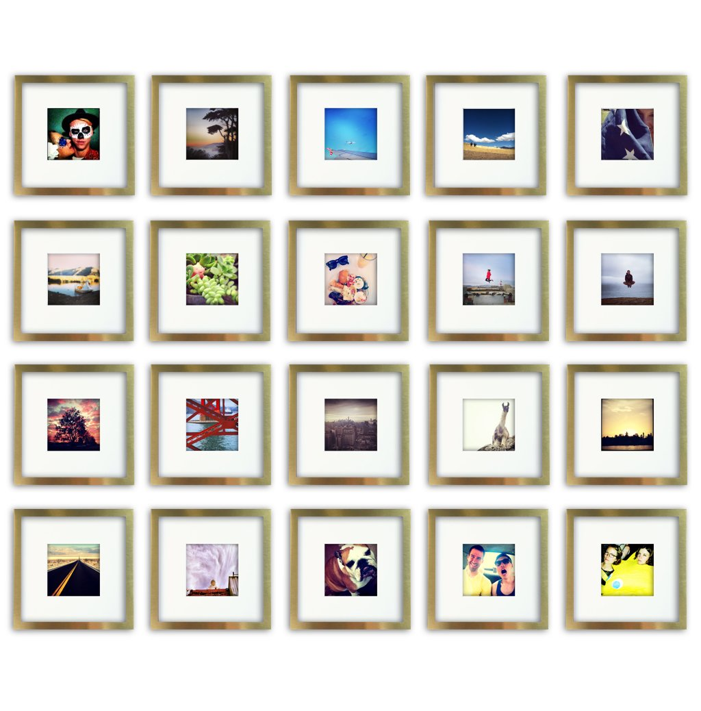 20-Set, Tiny Mighty Frames - Brushed Metal, Square Instagram Photo Frame, 8x8 (4x4 Matted) (20, Gold)