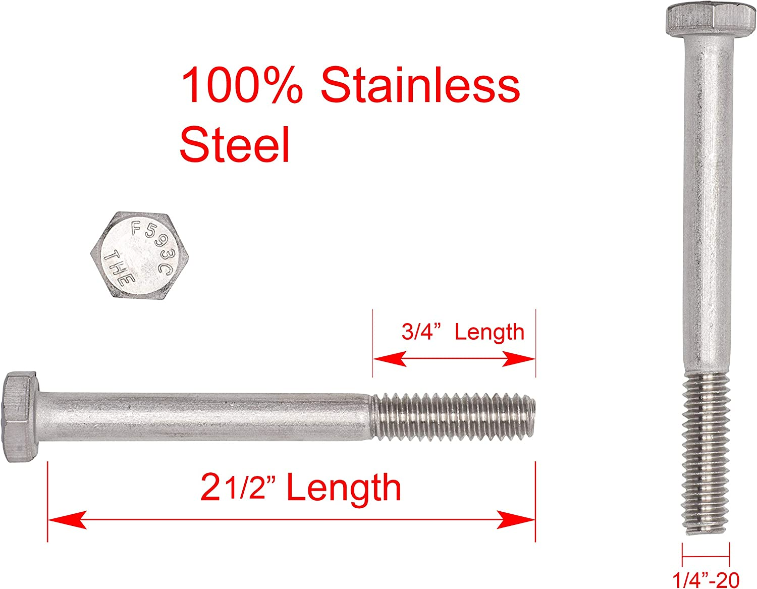 3//8-16 X 1 18-8 Stainless Steel Stainless Hex Head Bolt 25pc