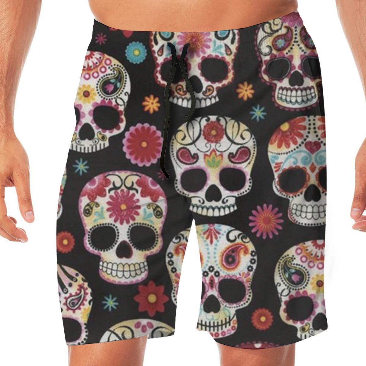 TR2YU7YT Novelty Sugar Skull Casual Mens Swim Trunks Quick Dry Printed Beach Shorts Summer Boardshorts Bathing Suits with Drawstring