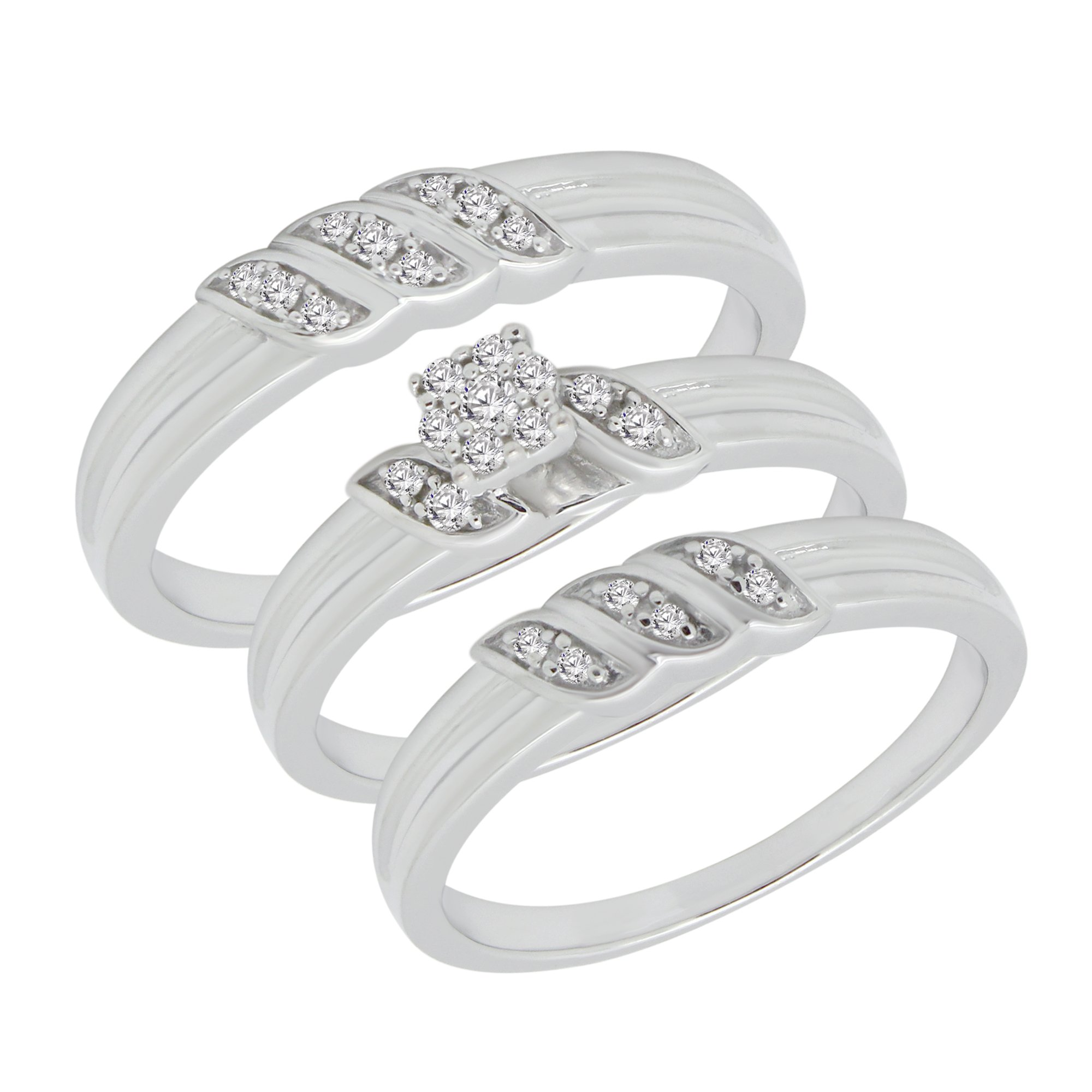 1/4 ct Real Diamond Engagement Ring & Wedding Band Ring Trio Set 925 Sterling Silver