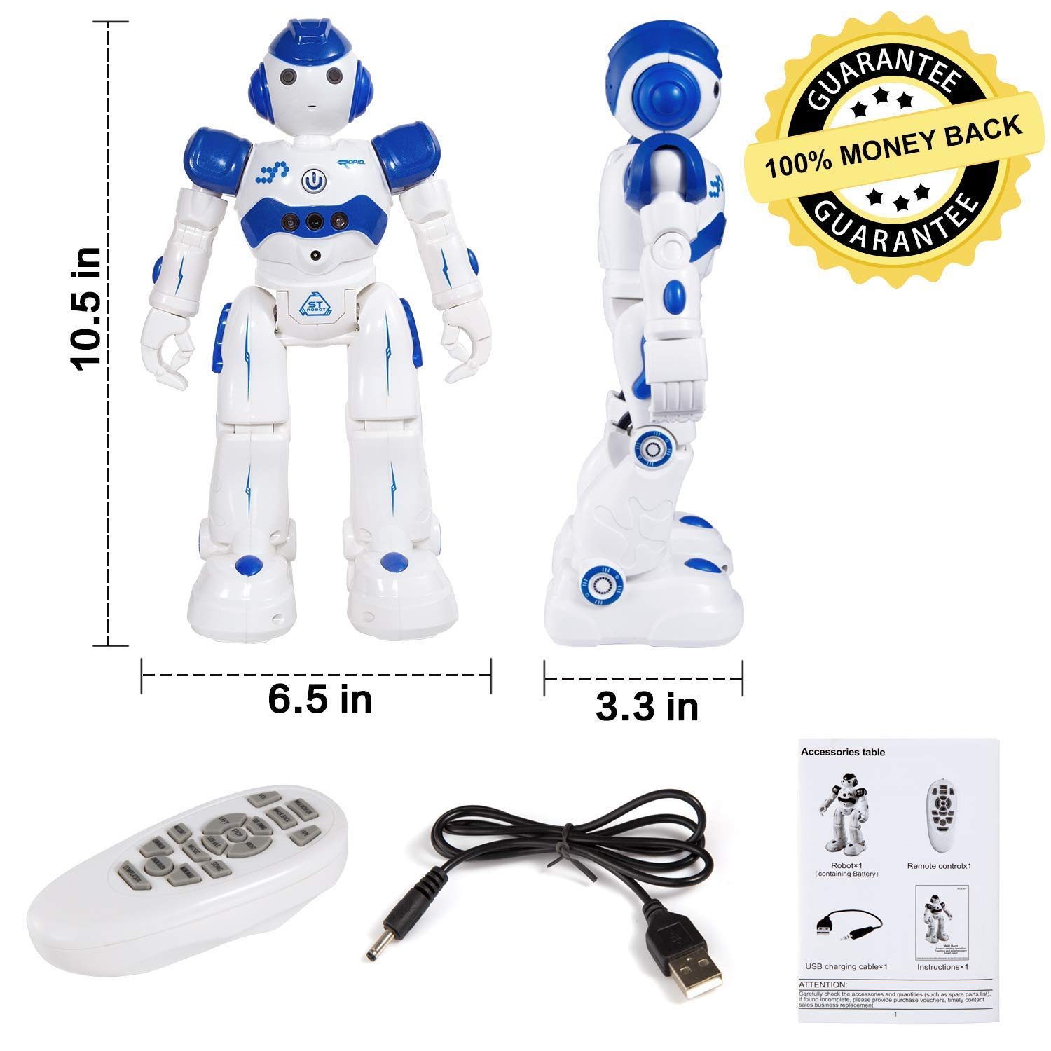 Taiker Remote Control Robot for Kids, Intellectual Gesture Sensor & RC Remote Control Rechargeable Robot Toys for Kids with Walking, Sliding, Turning, Singing, Dancing, Speaking and Teaching Science by Taiker (Image #7)