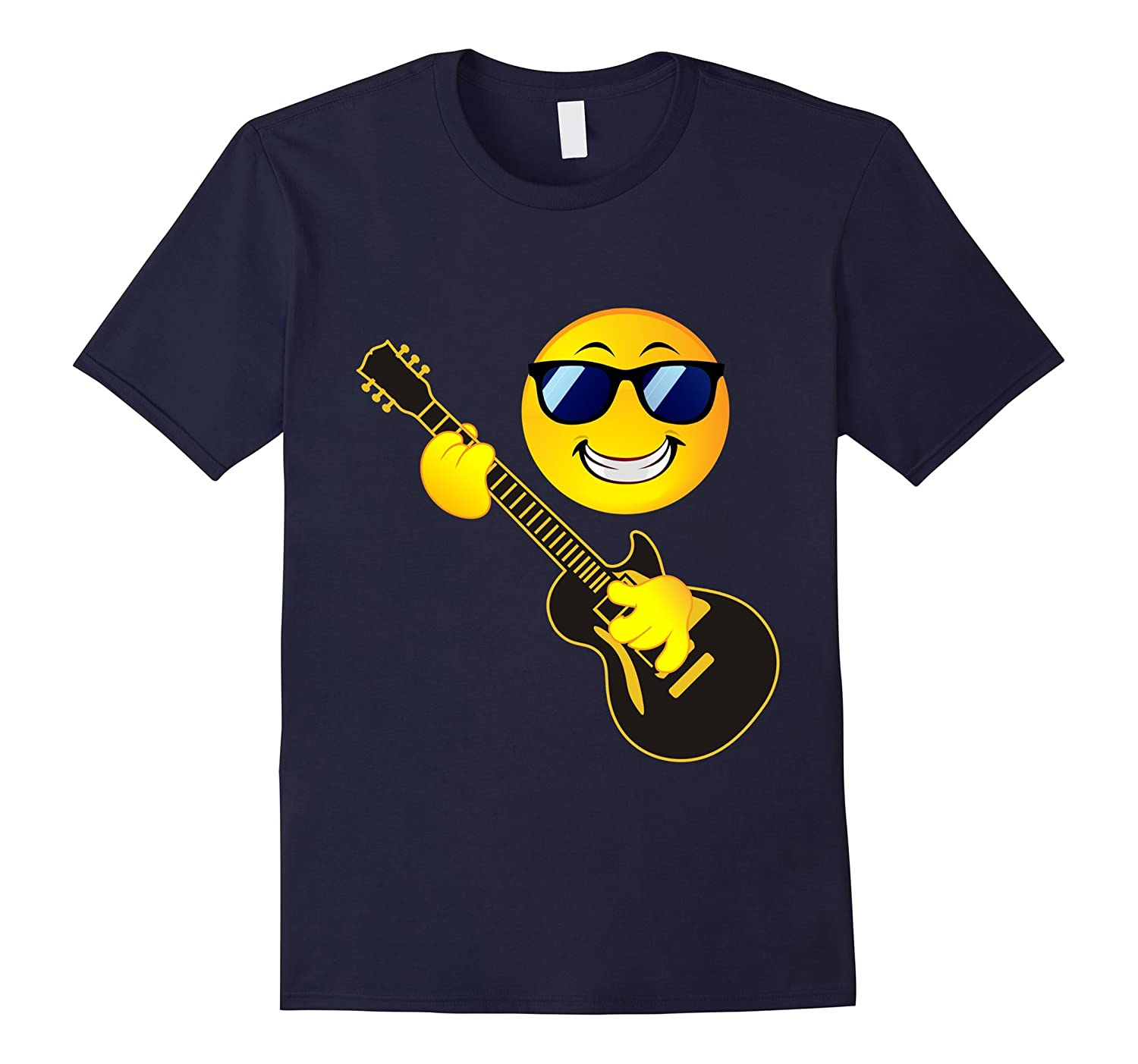 rock music emoji t shirt smiley face guitar sunglasses. Black Bedroom Furniture Sets. Home Design Ideas