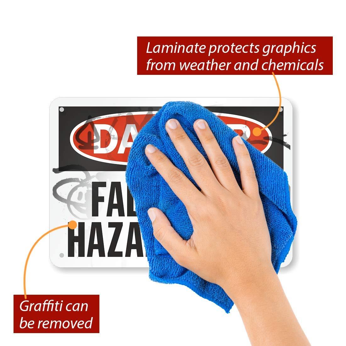 Fall Hazard Sign 10 x 14 Plastic SmartSign Danger