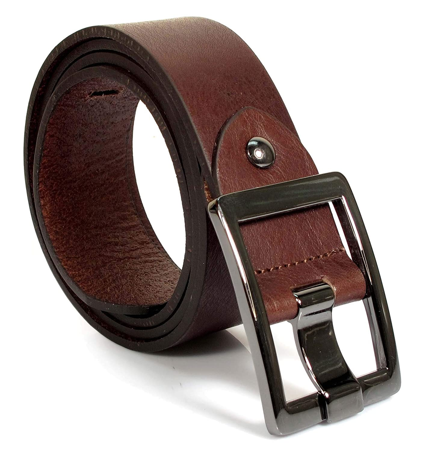 UM6 Mens Real Genuine Leather Dark Brown Belt 1.5 Wide S-XL Thick Casual Jeans