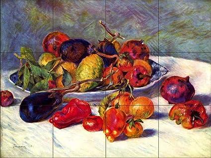 Murale di piastrelle di ceramica natura morta con tropical frutta