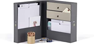 All-in-One Desk Organizer and File Box-Life Documents and Objects Organizer-Office Caddy-Tax and Estate Planner Holds Passport, Gift Cards, Legal, Office Supplies, Crafting, for Desk, Countertop-Gray