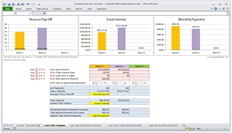 amazon com georges excel loan calculator v3 1 mortgage home loan