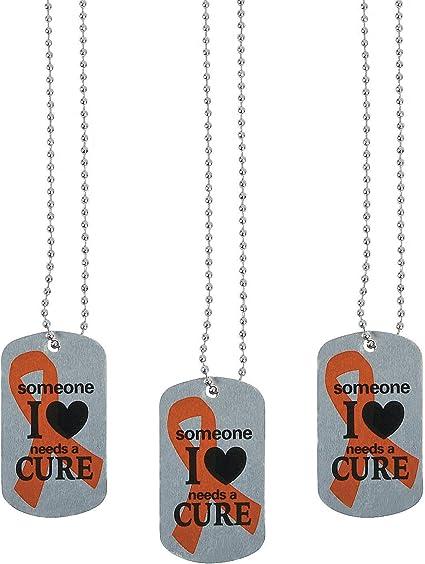 12 ORANGE RIBBON DOG TAGS Leukemia MS Awareness SOMEONE I LOVE NEEDS A CURE