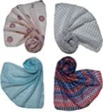 Letz Dezine ™ Printed Poly Cotton Set of four mullticoloured stoles; scarf and stoles for women