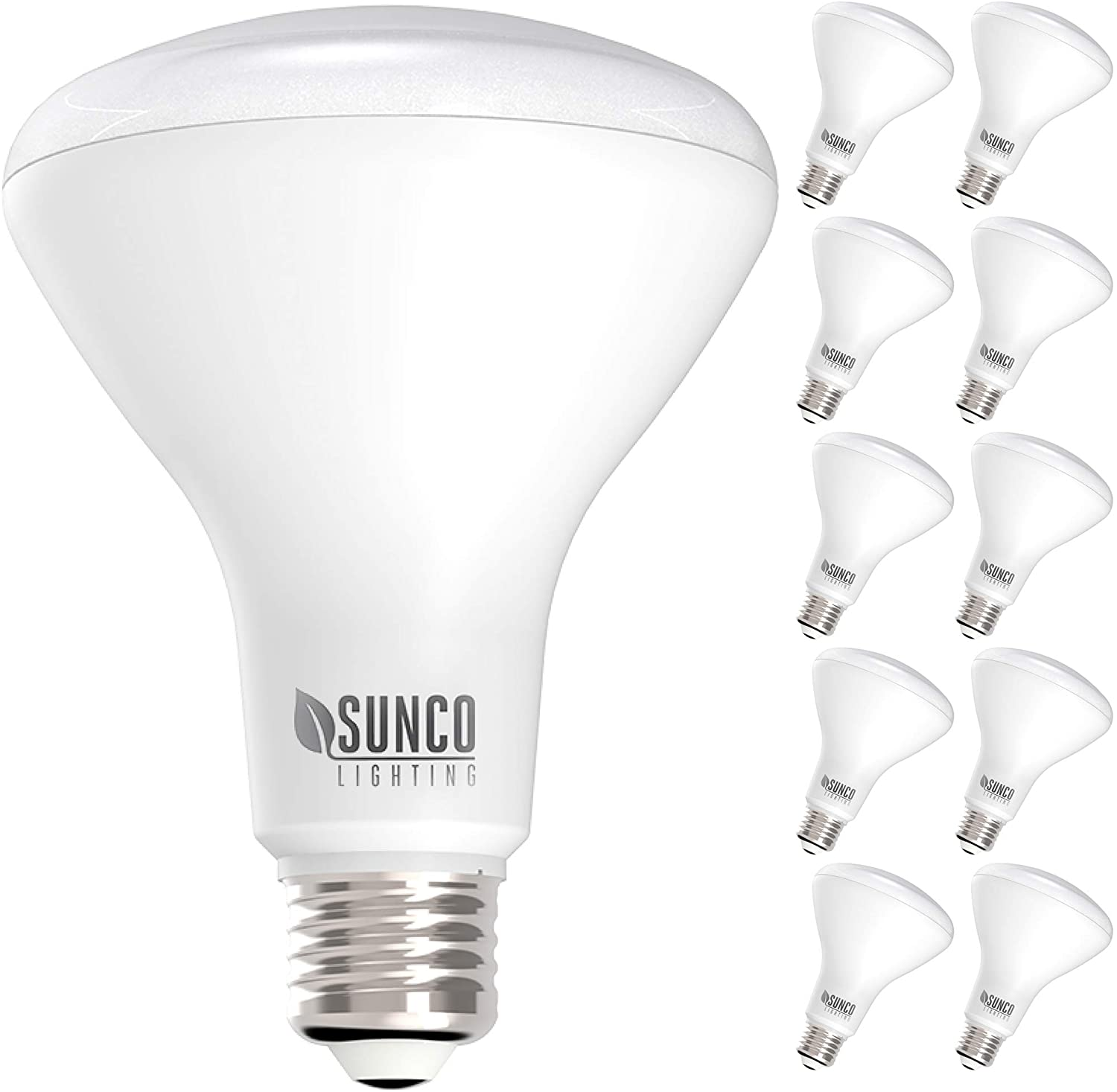 4000K Cool White Sunco Lighting 10 Pack BR40 LED Bulb E26 base 17W=100W UL /& Energy Star Indoor Flood Light for Cans Dimmable Renewed