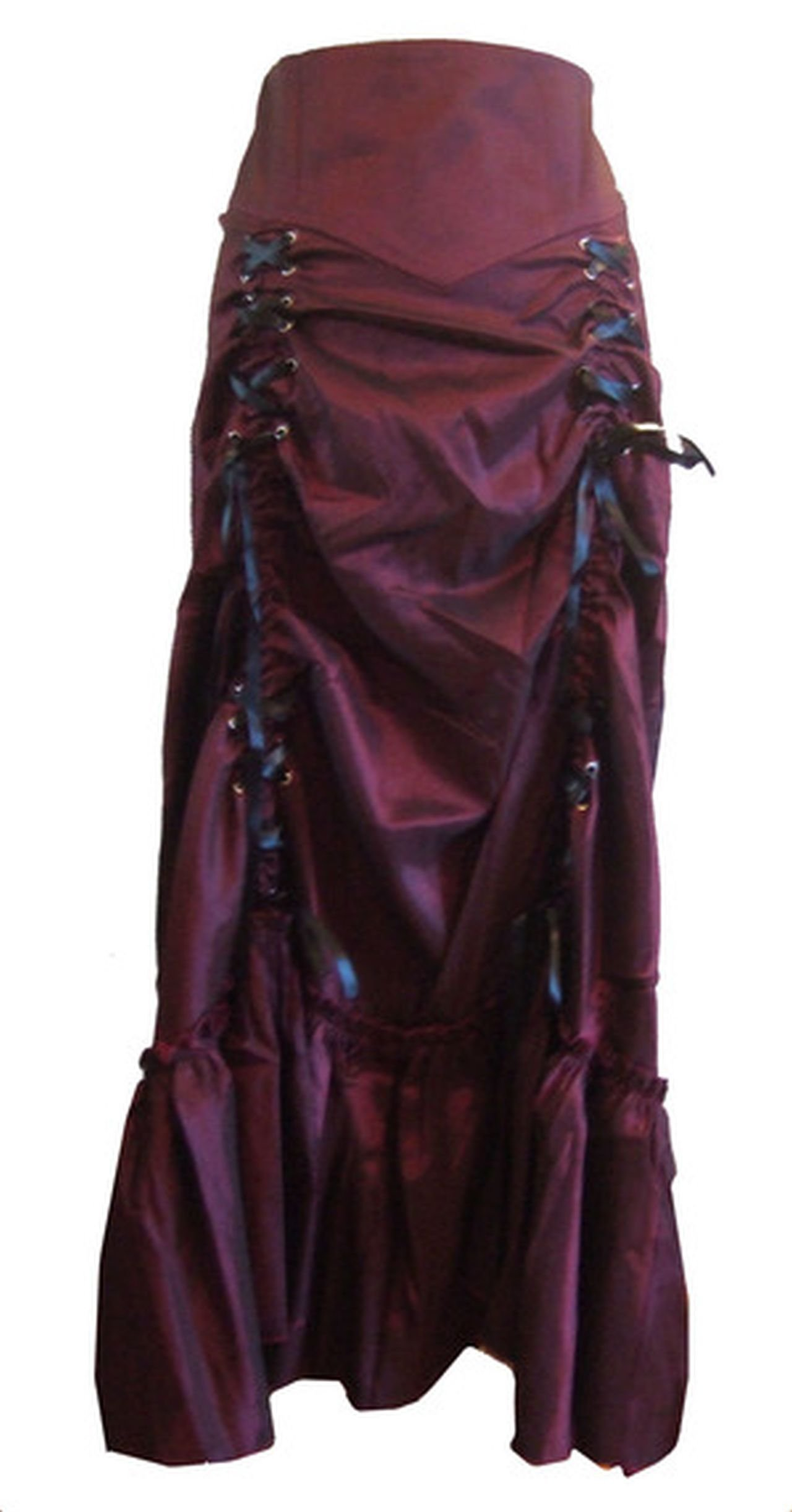 Wine Red - 3 Ways Frieda Long Sateen Corset Skirt - Size 8