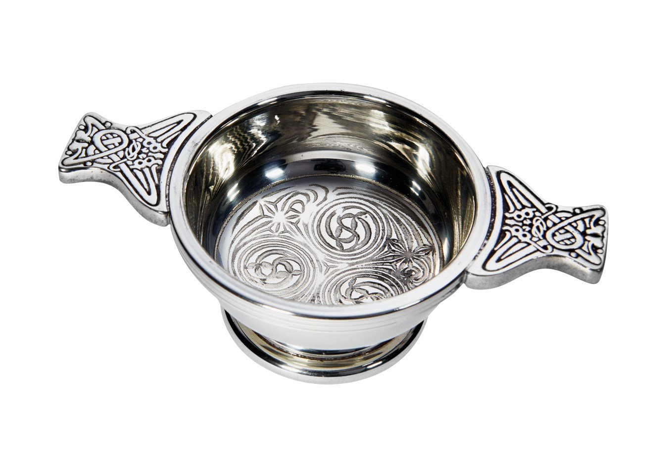 Wentworth Pewter - Small Kells Celtic Pewter Quaich Whisky Tasting Bowl Loving Cup Burns Night