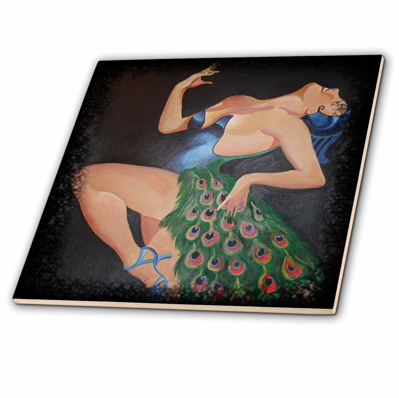 3dRose ct_24924_4 Woman Peacock Party Ceramic Tile, 12-Inch by 3dRose