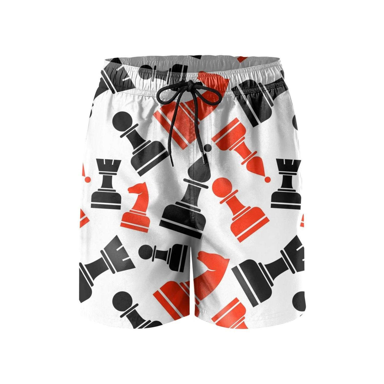 LHSKH Black /& Red Chess Mens Swim Trunks Elastic Waist Boardshorts for Men Athletic Mens Swim Shorts