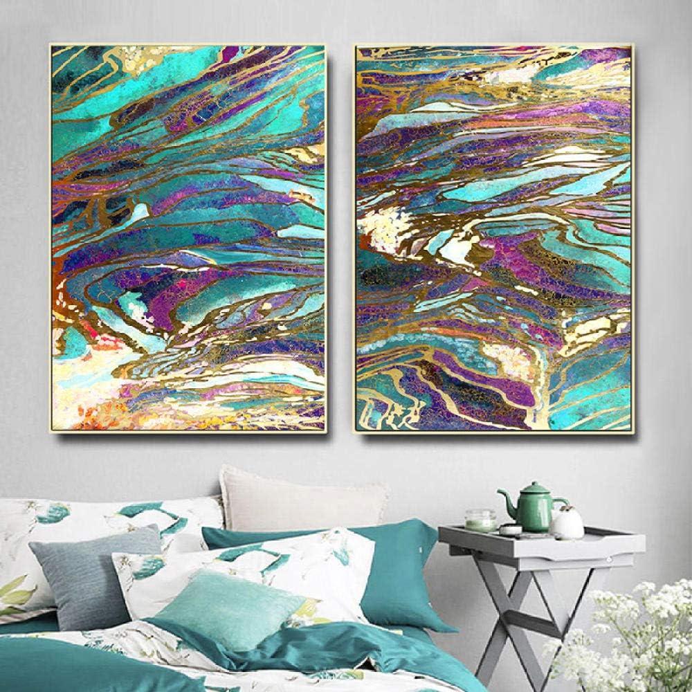Ligeros, lujosos pósters y lienzos, pintura en lienzo, arte abstracto en la pared, cuadros en azul y dorado, lienzo estilo, decoración para el hogar, arte, 60x80cmx2, sin marco